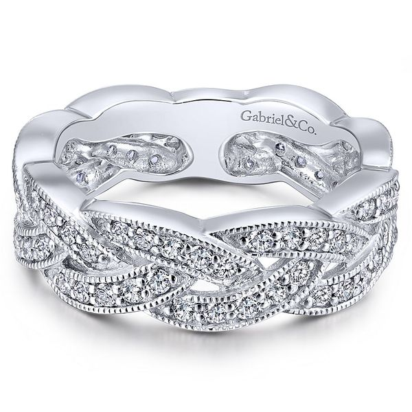 Gabriel & CO White Gold & Diamond Woven Band David Scott Fine Jewelry Panama City Beach, FL