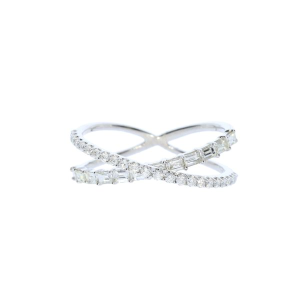 White Gold Crisscross Diamond Fashion Ring David Scott Fine Jewelry Panama City Beach, FL