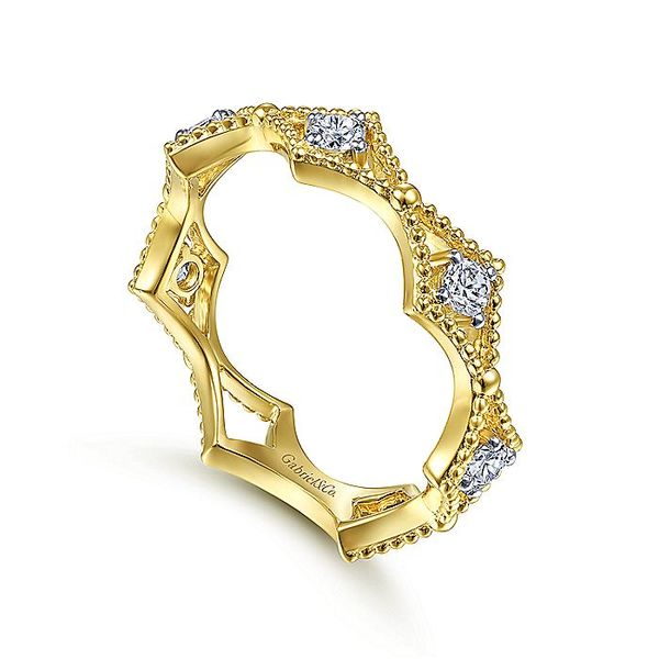 Gabriel & Co Yellow Gold Diamond Station and Bujukan Bead Ring Image 4 David Scott Fine Jewelry Panama City Beach, FL
