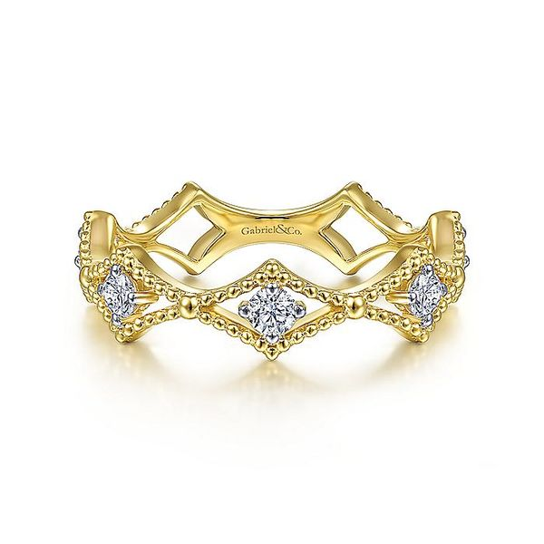 Gabriel & Co Yellow Gold Diamond Station and Bujukan Bead Ring David Scott Fine Jewelry Panama City Beach, FL
