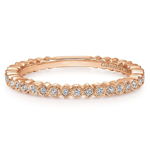 Gabriel & Co Rose Gold Scalloped Stackable Diamond Band David Scott Fine Jewelry Panama City Beach, FL