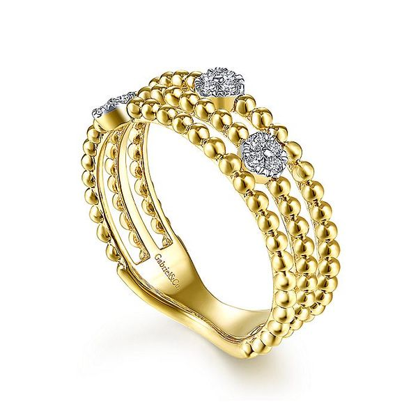 Gabriel & Co Yellow Gold Three Row Beaded Ring with Pave Diamond Cluster Stations Image 3 David Scott Fine Jewelry Panama City Beach, FL