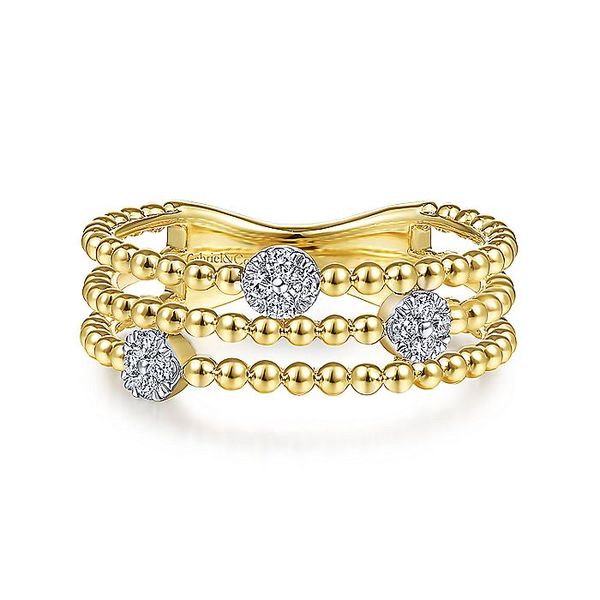 Gabriel & Co Yellow Gold Three Row Beaded Ring with Pave Diamond Cluster Stations David Scott Fine Jewelry Panama City Beach, FL