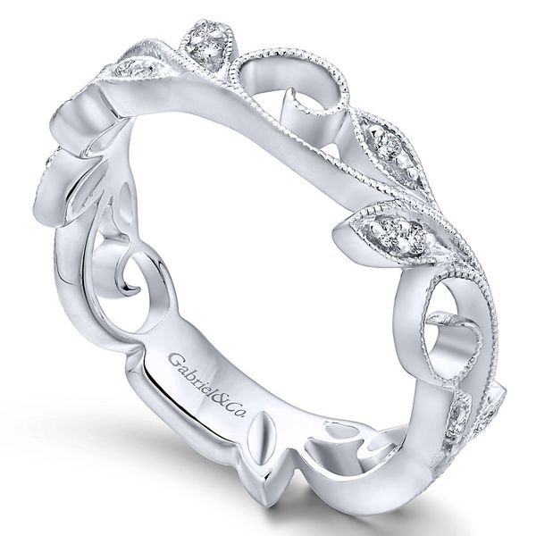 Gabriel & Co White Gold Scrolling Floral Diamond Ring Image 3 David Scott Fine Jewelry Panama City Beach, FL