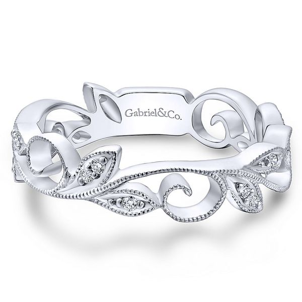 Gabriel & Co White Gold Scrolling Floral Diamond Ring David Scott Fine Jewelry Panama City Beach, FL