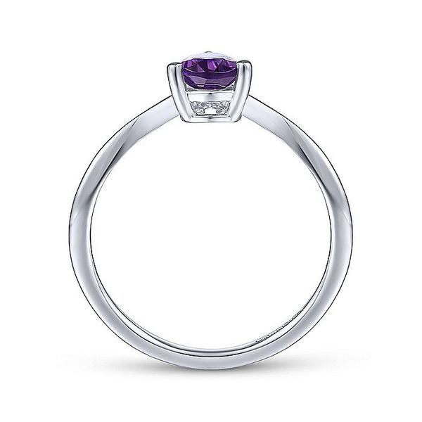 Gabriel & Co. White Gold Teardrop Amethyst and Diamond Triangle Ring Image 2 David Scott Fine Jewelry Panama City Beach, FL