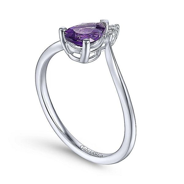 Gabriel & Co. White Gold Teardrop Amethyst and Diamond Triangle Ring Image 3 David Scott Fine Jewelry Panama City Beach, FL