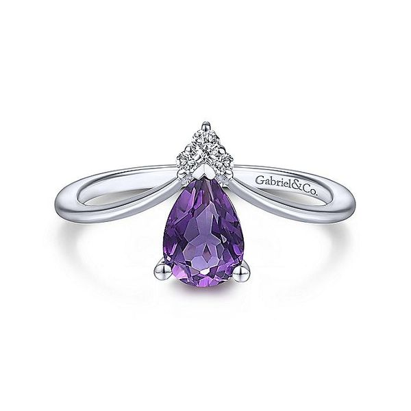 Gabriel & Co. White Gold Teardrop Amethyst and Diamond Triangle Ring David Scott Fine Jewelry Panama City Beach, FL
