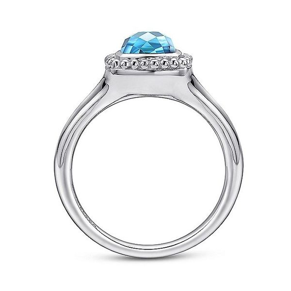 Sterling Silver Beaded Cushion Cut Blue Topaz Ring; Finger Size 6.5 Image 2 David Scott Fine Jewelry Panama City Beach, FL