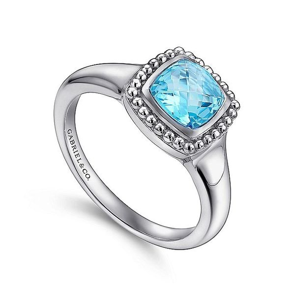 Sterling Silver Beaded Cushion Cut Blue Topaz Ring; Finger Size 6.5 Image 3 David Scott Fine Jewelry Panama City Beach, FL