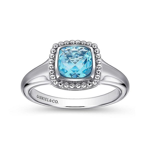 Sterling Silver Beaded Cushion Cut Blue Topaz Ring; Finger Size 6.5 Image 4 David Scott Fine Jewelry Panama City Beach, FL