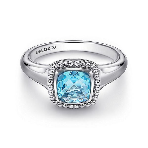 Sterling Silver Beaded Cushion Cut Blue Topaz Ring; Finger Size 6.5 David Scott Fine Jewelry Panama City Beach, FL