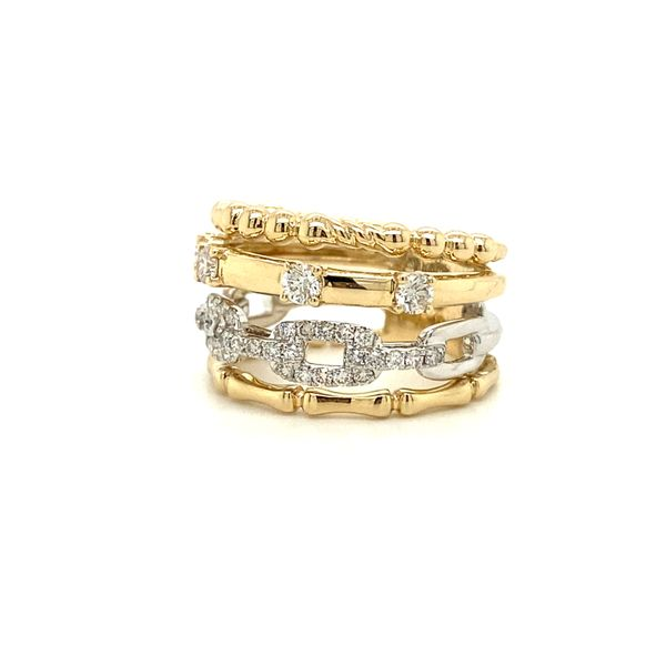 Ladies Yellow And White Gold Stacked Look Fashion Ring Image 2 David Scott Fine Jewelry Panama City Beach, FL