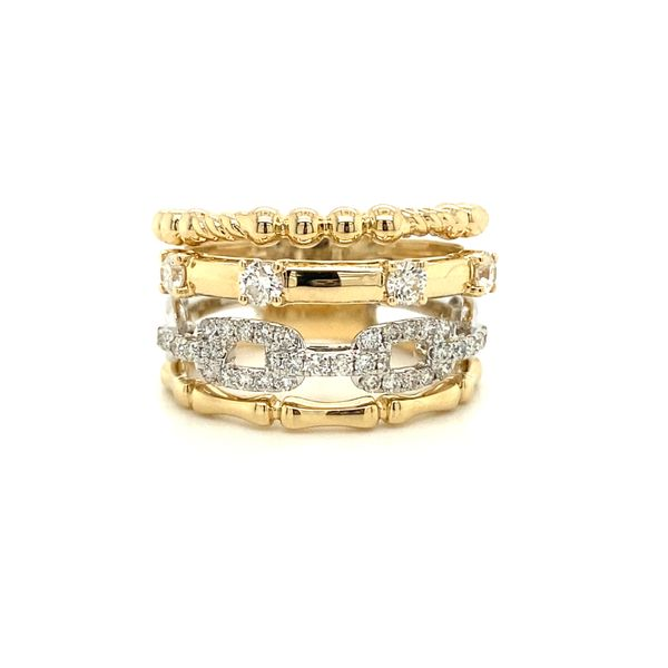 Ladies Yellow And White Gold Stacked Look Fashion Ring David Scott Fine Jewelry Panama City Beach, FL