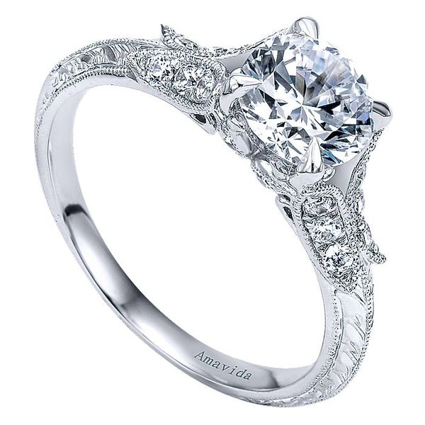 Amavida White Gold Split Shank Engagement Ring Image 3 David Scott Fine Jewelry Panama City Beach, FL