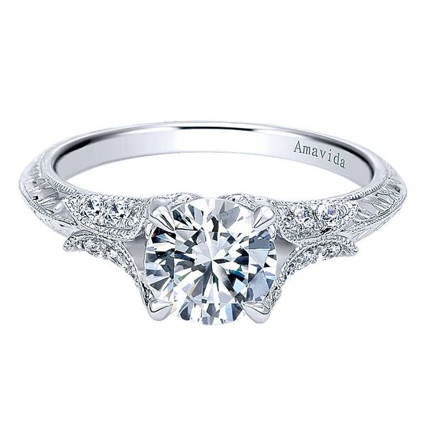 Amavida White Gold Split Shank Engagement Ring David Scott Fine Jewelry Panama City Beach, FL