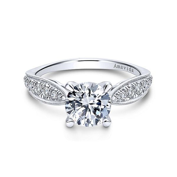 Amavida White Gold Straight Engagement Ring David Scott Fine Jewelry Panama City Beach, FL