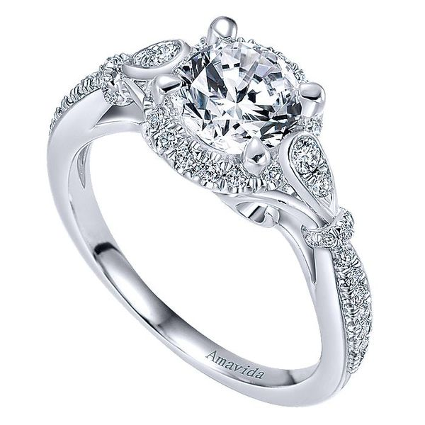 Amavida White Gold Art Deco Inspired Halo Engagement Ring Image 3 David Scott Fine Jewelry Panama City Beach, FL