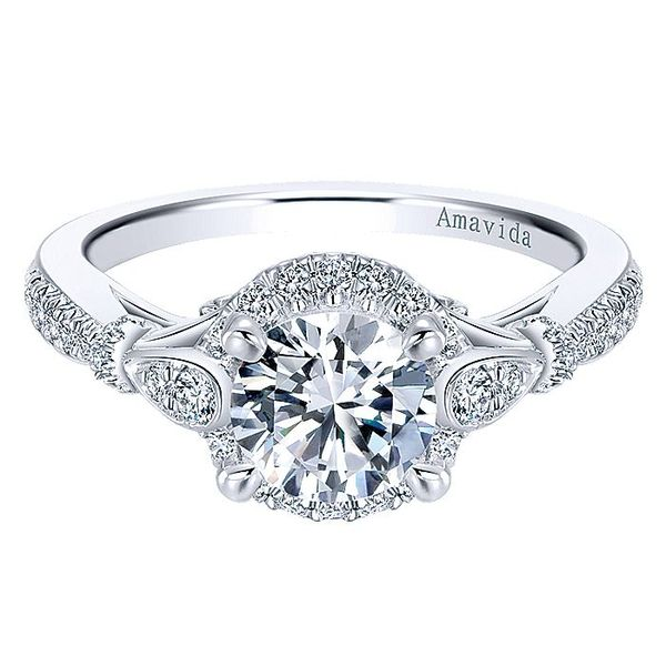 Amavida White Gold Art Deco Inspired Halo Engagement Ring David Scott Fine Jewelry Panama City Beach, FL