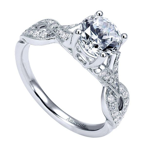 Amavida White Gold Twisted Engagement Ring Image 3 David Scott Fine Jewelry Panama City Beach, FL
