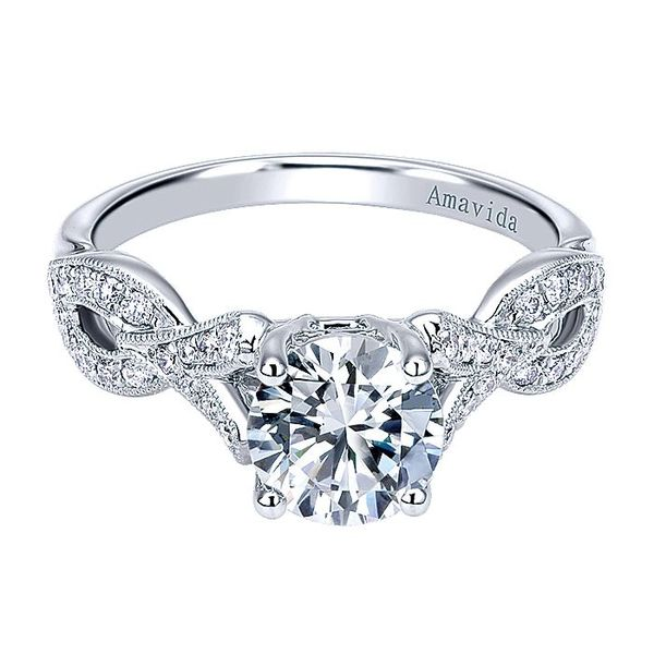 Amavida White Gold Twisted Engagement Ring David Scott Fine Jewelry Panama City Beach, FL