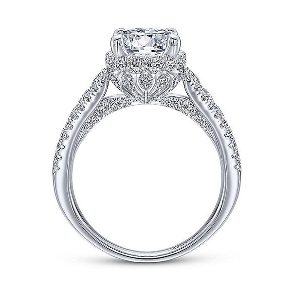 Amavida White Gold Contemporary Halo Engagement Ring Image 2 David Scott Fine Jewelry Panama City Beach, FL
