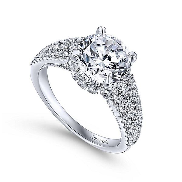 Amavida White Gold Contemporary Halo Engagement Ring Image 3 David Scott Fine Jewelry Panama City Beach, FL