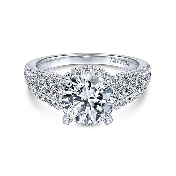 Amavida White Gold Contemporary Halo Engagement Ring David Scott Fine Jewelry Panama City Beach, FL