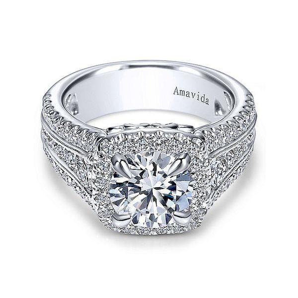 Amavida White Gold Halo Engagement Ring