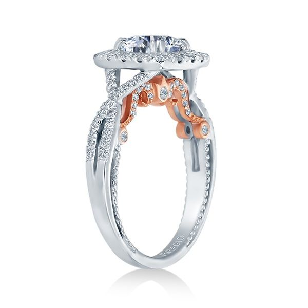 Verragio Insignia Collection White & Rose Gold Cushion Halo Engagement Ring Image 2 David Scott Fine Jewelry Panama City Beach, FL