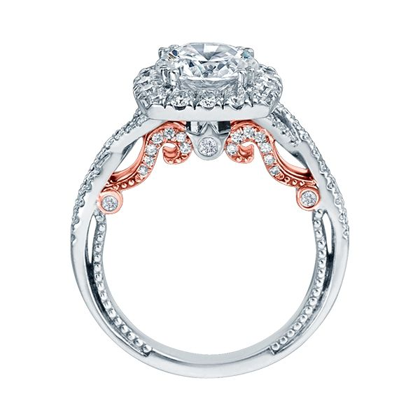 Verragio Insignia Collection White & Rose Gold Cushion Halo Engagement Ring Image 3 David Scott Fine Jewelry Panama City Beach, FL