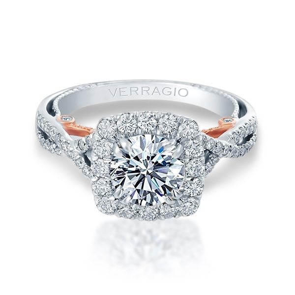 Verragio Insignia Collection White & Rose Gold Cushion Halo Engagement Ring David Scott Fine Jewelry Panama City Beach, FL