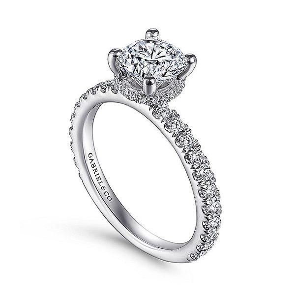 Gabriel & Co White Gold Hidden Halo Round Semi-Mount Engagement Ring Image 3 David Scott Fine Jewelry Panama City Beach, FL