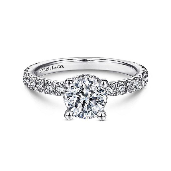 Gabriel & Co White Gold Hidden Halo Round Semi-Mount Engagement Ring David Scott Fine Jewelry Panama City Beach, FL