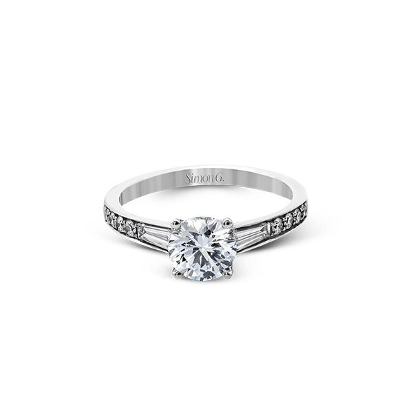 Simon G. White Gold Baguette Diamond Engagement Ring Image 2 David Scott Fine Jewelry Panama City Beach, FL