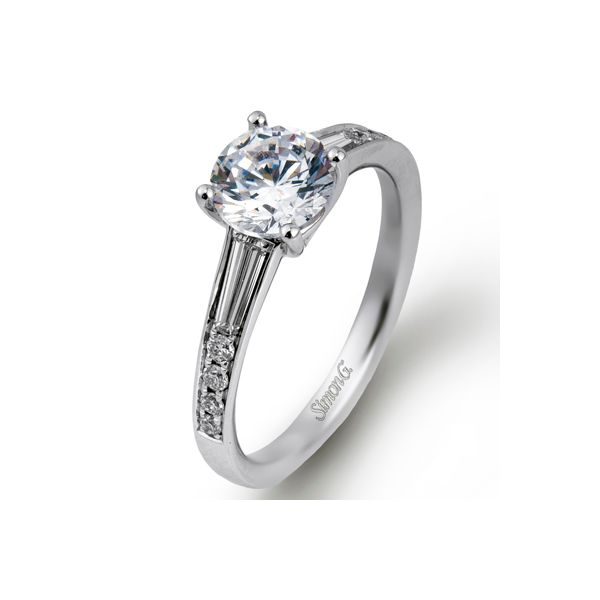 Simon G. White Gold Baguette Diamond Engagement Ring David Scott Fine Jewelry Panama City Beach, FL