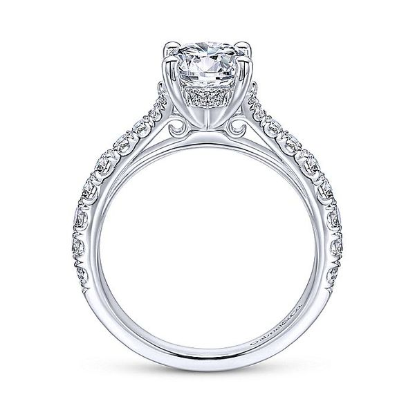 Gabriel & Co White Gold Lightly Tapered Semi-Mount Engagement Ring Image 2 David Scott Fine Jewelry Panama City Beach, FL