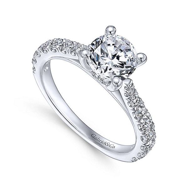 Gabriel & Co White Gold Lightly Tapered Semi-Mount Engagement Ring Image 3 David Scott Fine Jewelry Panama City Beach, FL