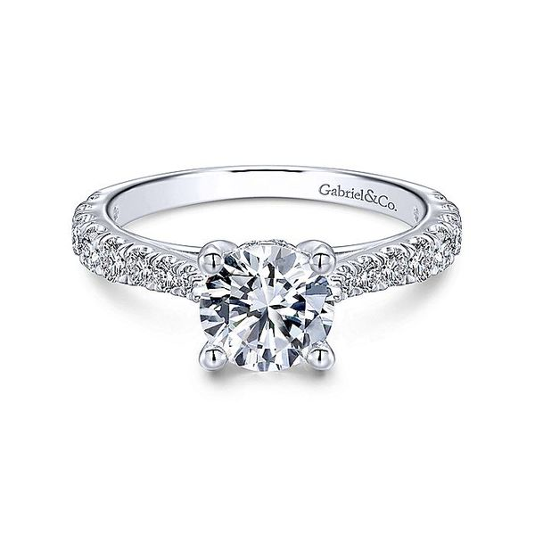 Gabriel & Co White Gold Lightly Tapered Semi-Mount Engagement Ring David Scott Fine Jewelry Panama City Beach, FL