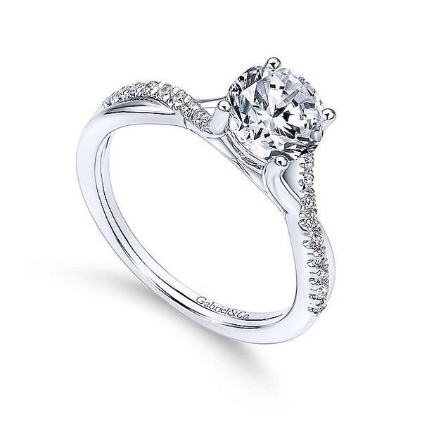 Gabriel & Co White Gold Intertwined Semi-Mount Engagement Ring Image 3 David Scott Fine Jewelry Panama City Beach, FL