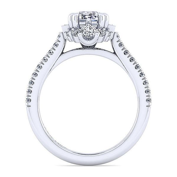 Gabriel & Co. White Gold Art Deco Emerald Cut Halo Semi-Mount Engagement Ring Image 2 David Scott Fine Jewelry Panama City Beach, FL