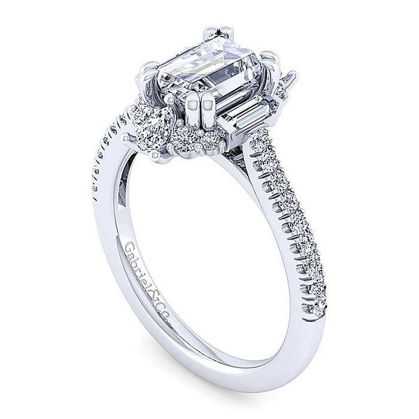 Gabriel & Co. White Gold Art Deco Emerald Cut Halo Semi-Mount Engagement Ring Image 3 David Scott Fine Jewelry Panama City Beach, FL