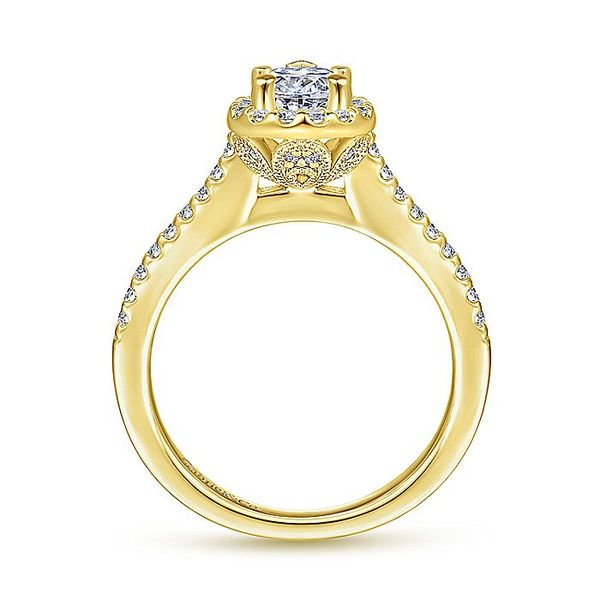 Gabriel & Co Yellow Gold Pear Shape Halo Semi-Mount Engagement Ring Image 2 David Scott Fine Jewelry Panama City Beach, FL