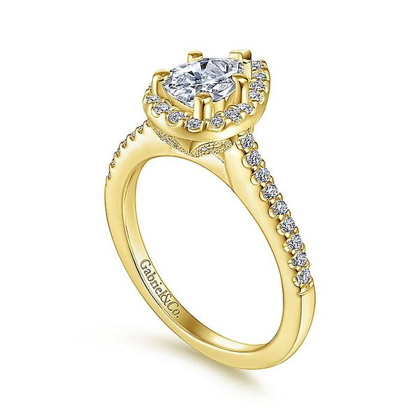 Gabriel & Co Yellow Gold Pear Shape Halo Semi-Mount Engagement Ring Image 3 David Scott Fine Jewelry Panama City Beach, FL