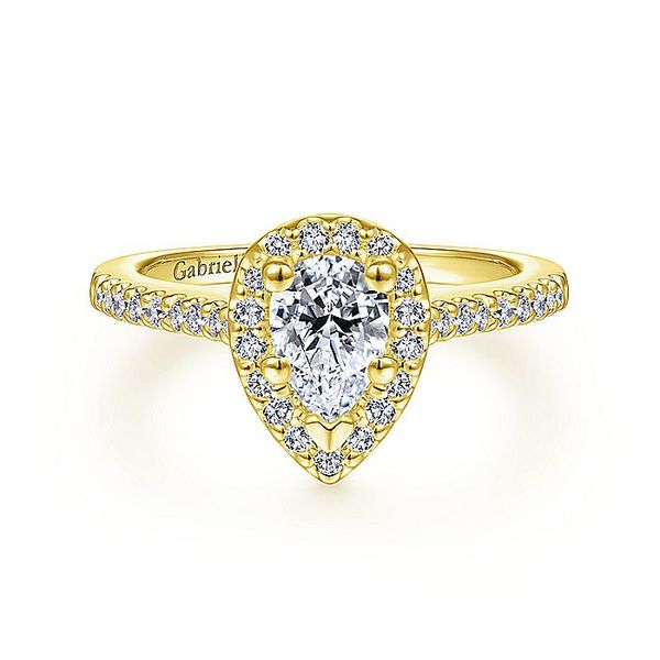 Gabriel & Co Yellow Gold Pear Shape Halo Semi-Mount Engagement Ring David Scott Fine Jewelry Panama City Beach, FL
