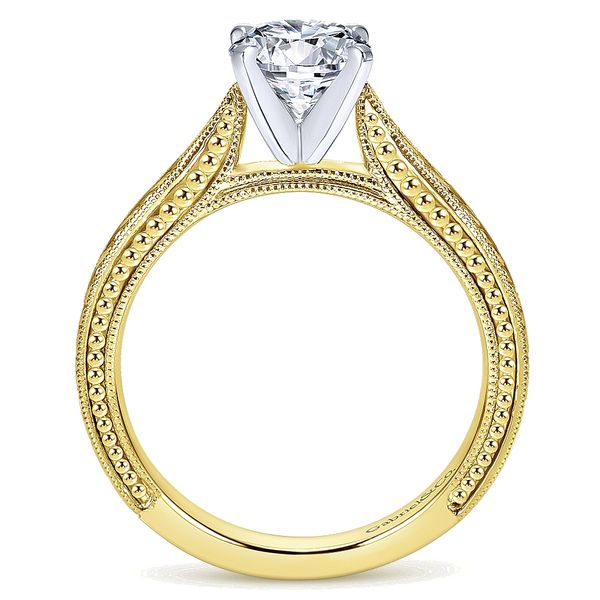 Gabriel & Co Yellow And White Gold Engraved Semi-Mount Engagement Ring Image 2 David Scott Fine Jewelry Panama City Beach, FL