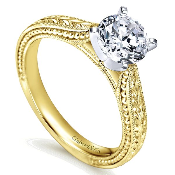 Gabriel & Co Yellow And White Gold Engraved Semi-Mount Engagement Ring Image 3 David Scott Fine Jewelry Panama City Beach, FL