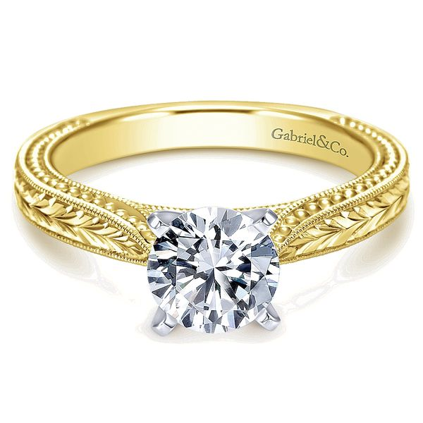 Gabriel & Co Yellow And White Gold Engraved Semi-Mount Engagement Ring David Scott Fine Jewelry Panama City Beach, FL