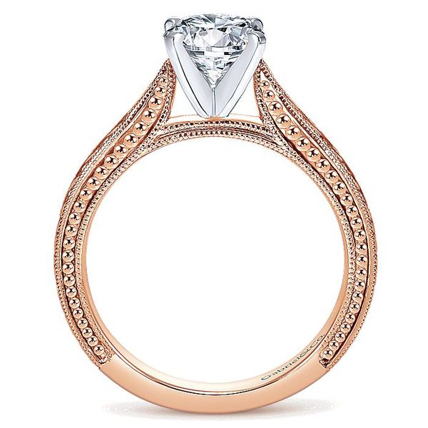 Gabriel & Co Rose And White Gold Engraved Semi-Mount Engagement Ring Image 2 David Scott Fine Jewelry Panama City Beach, FL
