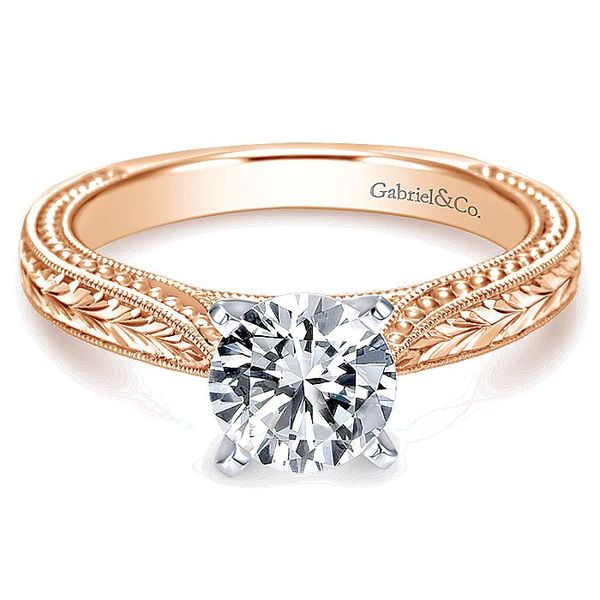 Gabriel & Co Rose And White Gold Engraved Semi-Mount Engagement Ring David Scott Fine Jewelry Panama City Beach, FL